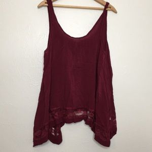 Intimately free people cranberry lace tank M